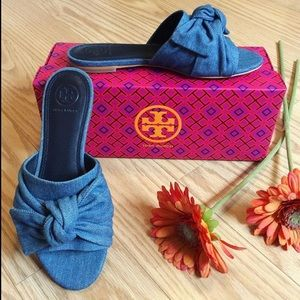 Tory Burch Chambray Annabelle Bow Slide